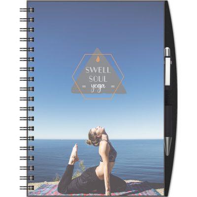 """ClearView™ Journal - Medium NoteBook w/PenPort & Pen (7""""x10"""")"""