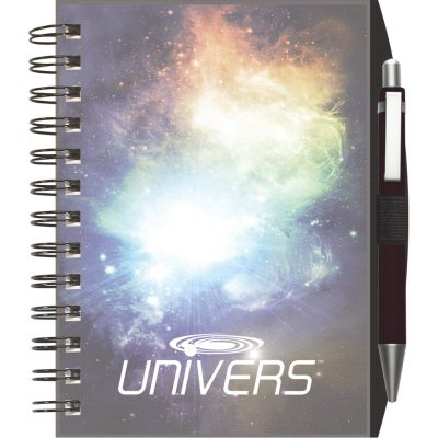 "ClearView™ Journal - NotePad w/PenPort & Pen (5""x7"")"