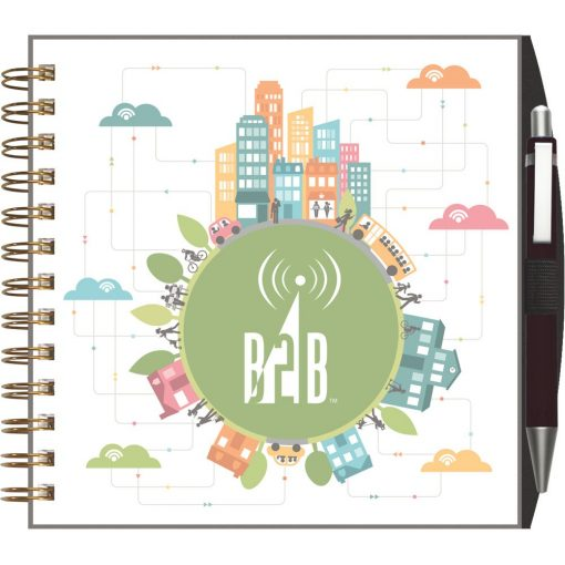 """ClearView™ Journal - Square NoteBook w/PenPort & Pen (7""""x7"""")"""